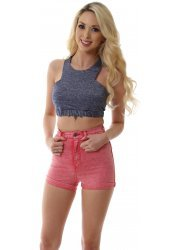 Ice Raspberry Pink Stretch Fit High Waisted Galore Shorts