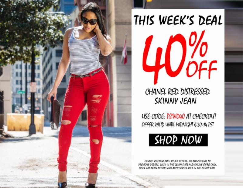 PZI Jeans: Weekly Deal - 40% OFF - Chanel Red Distressed Skinny ...