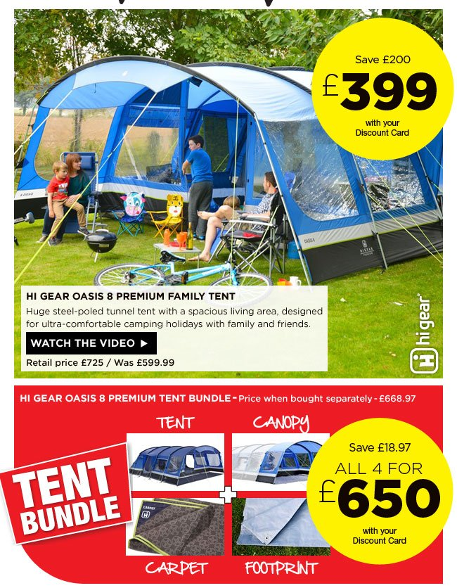Hi Gear Oasis 8 Premium Family Tent  sc 1 st  Milled & Go Outdoors: New Wow Deals including Hi Gear Oasis Family Tent for ...