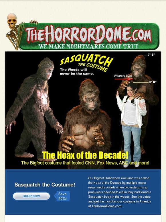 The Horror Dome Own the Bigfoot Costume that Fooled CNN Fox News and more   Milled  sc 1 st  Milled & The Horror Dome: Own the Bigfoot Costume that Fooled CNN Fox News ...