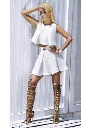 Ashleigh Cream Two Piece Top & Skirt