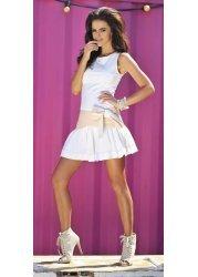 Bow Tie Detail Cream Flared Hem Mini Dress