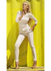 Azaria Nude Tailored Gold Plaque Detail Jumpsuit