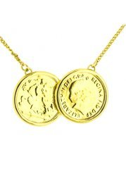 Two Coin Holly Gold Finish Necklace