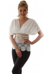 Ivory Crochet & Gold Chain Silk Draped Top