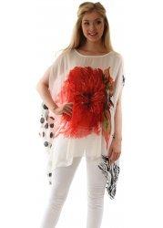 Red Abstract Floral Spot & Animal Print Kaftan Top