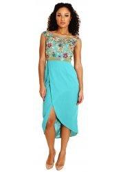 Lorena Off Shoulder Floral Embellished Teal Dress