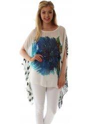 Blue Abstract Floral Spot & Animal Print Kaftan Top
