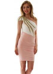 Gold Leaf Embellished Pink One Shoulder Party Dress