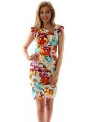 Floral Print Asymmetrical Collar Pencil Dress