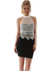 Black & Cream Lace Halter Neck Gold Chain Mini Dress