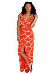 Coral Sequinned Sleeveless Wrap Maxi Maria Dress