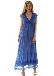 Bright Blue Lace Bodice Sleeveless Maxi Dress