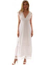 Pretty White Lace Bodice Sleeveless Maxi Dress