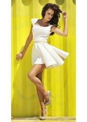 Cream Circle Skater Dress With Gold Chain Waist