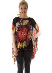 Multi Coloured Flower & Stripe Print Black Kaftan Top