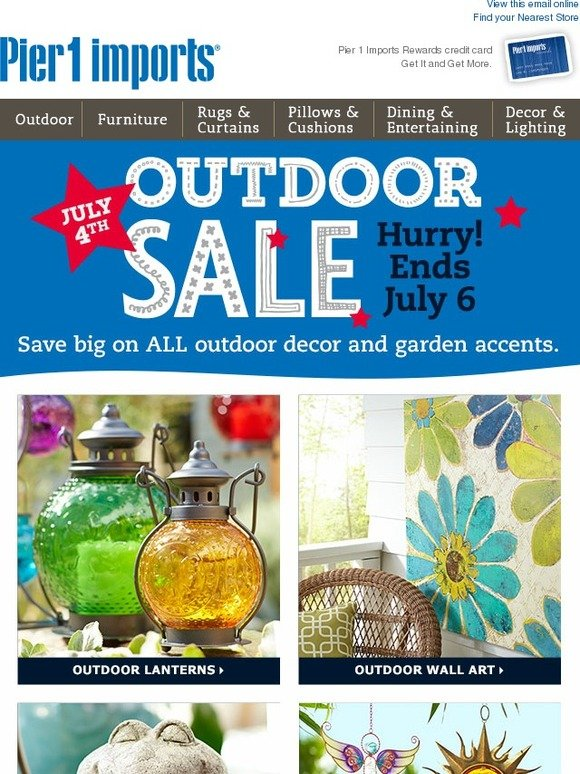 Pier 1 July 4th Outdoor Sale Save On All Outdoor Decor
