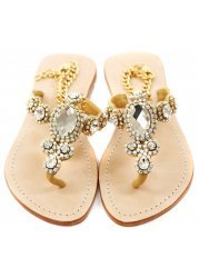 Corinth Czech Crystal Jewelled Gold Chain Ankle Flat Sandals