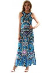 Turquoise Blue Geometric Print Blue Sleeveless Maxi Dress