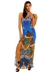 Parides Metamorphosis Dazzling Blue Silk Crepe Maxi Dress