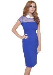 Cobalt Blue Nina Collar Pencil Dress With Spotty Mesh Shoulders