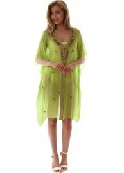 Lime Green Kaftan With Gold Sequins Crystals & Beads