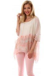 Pink Watercolour Silk Tie Dye Blouse Top