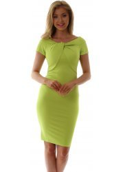 Lime Green Knot Detail Fitted Dress
