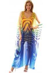 Blue & Yellow Silk Swirl Crystal Glitter Maxi Kaftan Dress