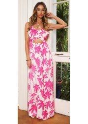 Pink Tropical Print Cut Out Pretty Maxi Dress