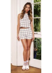 Grid Print Co-Ord Tailored Shorts