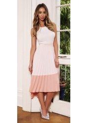 Pink Two Tone Pleated Midi Skirt