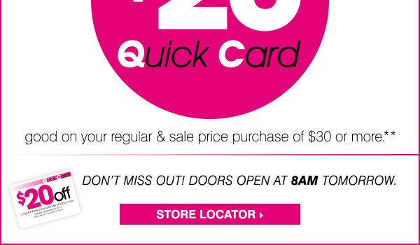 Clothing stores open at 8am