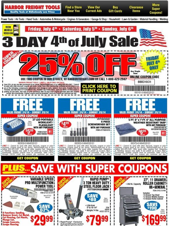 harbor freight 25 off free gifts 4th of july sale milled. Black Bedroom Furniture Sets. Home Design Ideas