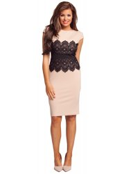 Livvie Nude & Black Lace Shift Dress