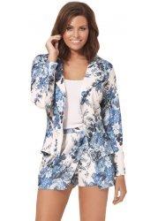 Evie Blue & White Floral Blazer As Seen On Jessica Wright