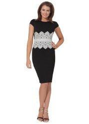 Livvie Black & Ivory Lace Shift Dress