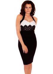 Natalie Black & White Lace Detail Halterneck Dress