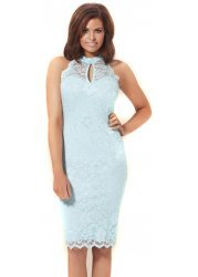 Baby Blue Lace Body Con Midi Lilly Dress