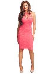 Peach Coral Lace Body Con Midi Lilly Dress