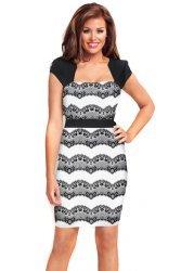 Black & White Eyelash Lace Body Con Hannah Dress