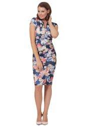 Rosie Navy Multi Coloured Floral Midi Dress