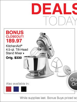 Herbergers: Deals of the Day ○ $189.97 KitchenAid Stand Mixer ...