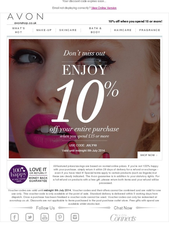 Click on this great deal and avail an amazing discount. Discover amazing deals that will save you money, only from Avon UK.