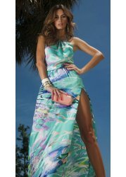 California Dreaming Printed Halterneck Maxi Dress