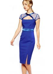 Gigi Cobalt Blue Cut Out Mesh Neckline Pencil Dress