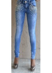 Zoya Pearls Diamonds & Multi Coloured Gemstones Skinny Jeans
