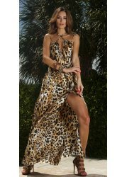 Hollywood Goddess Leopard Print Maxi Gown