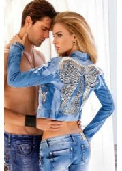 Sally Pearls & Diamonds Butterfly Cropped Denim Jacket