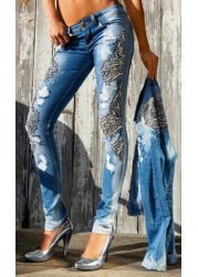 Sandra Pearls & Diamonds Distressed Skinny Jeans